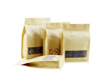 High Barrier Resealable Kraft Bags , Kraft Stand Up Pouches With Window